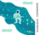 an astronaut sits and plays the ... | Shutterstock .eps vector #1234404505