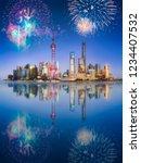 beautiful fireworks above...   Shutterstock . vector #1234407532