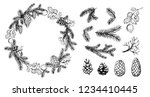 pine wreath with cone and fir... | Shutterstock .eps vector #1234410445