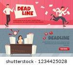 set of 2 horizontal cartoon...   Shutterstock .eps vector #1234425028