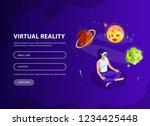 isometric man  woman in virtual ...   Shutterstock .eps vector #1234425448
