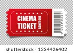 vector red cinema ticket... | Shutterstock .eps vector #1234426402