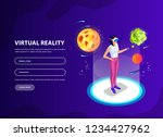 isometric man  woman in virtual ...   Shutterstock .eps vector #1234427962
