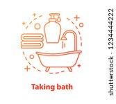 taking bath accessories concept ... | Shutterstock .eps vector #1234444222