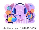 operator wearing headset at... | Shutterstock .eps vector #1234450465