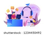 contact center agents with... | Shutterstock .eps vector #1234450492