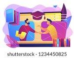 teacher with books helping... | Shutterstock .eps vector #1234450825