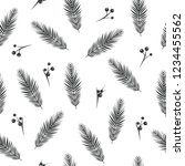black fir tree branches with... | Shutterstock .eps vector #1234455562