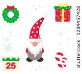 winter cartoon christmas gnome... | Shutterstock .eps vector #1234457428