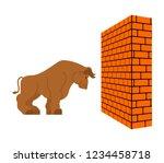 bull and brick wall. big power... | Shutterstock .eps vector #1234458718