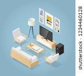 vector isometric living room in ... | Shutterstock .eps vector #1234460128