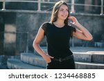 a brunette female with long... | Shutterstock . vector #1234468885