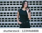 a brunette female with long... | Shutterstock . vector #1234468888