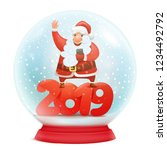 snow globe with santa claus.... | Shutterstock .eps vector #1234492792