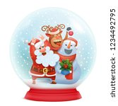 snow globe with santa claus ... | Shutterstock .eps vector #1234492795