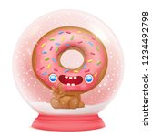 snow globe with donut cartoon... | Shutterstock .eps vector #1234492798