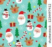 cute santa claus  snowman  deer ... | Shutterstock .eps vector #1234497412