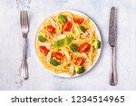 plate of spaghetti tomato... | Shutterstock . vector #1234514965