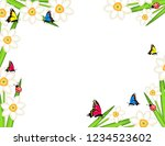 daffodils with butterflies... | Shutterstock .eps vector #1234523602