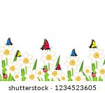 daffodils with butterflies... | Shutterstock .eps vector #1234523605