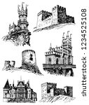 graphical set of medieval...   Shutterstock .eps vector #1234525108
