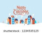 winter christmas cityscape.... | Shutterstock .eps vector #1234535125