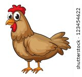 illustration of a hen on a... | Shutterstock .eps vector #123454622