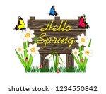 hello spring wooden sign | Shutterstock .eps vector #1234550842