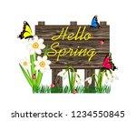 hello spring wooden sign | Shutterstock .eps vector #1234550845