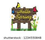 hello spring wooden sign | Shutterstock .eps vector #1234550848
