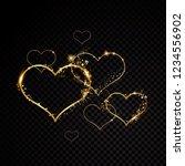 valentine heart sparkle golden... | Shutterstock .eps vector #1234556902