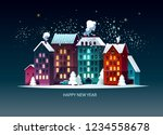 new year's landscape.  greeting ... | Shutterstock .eps vector #1234558678