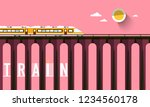 train on high bridge with... | Shutterstock .eps vector #1234560178