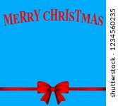 christmas card with a red bow... | Shutterstock . vector #1234560235