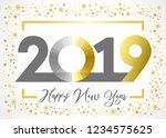 2019 golden glitter happy new... | Shutterstock .eps vector #1234575625