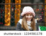beautiful smiling blonde woman... | Shutterstock . vector #1234581178