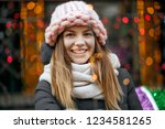 gorgeous smiling blonde woman... | Shutterstock . vector #1234581265