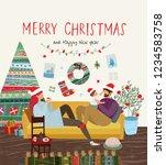 happy family celebrating... | Shutterstock .eps vector #1234583758