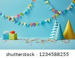 party hats  confetti and gifts... | Shutterstock . vector #1234588255