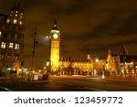 night scene of big ben and... | Shutterstock . vector #123459772