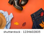 flat lay of autumn jeans and... | Shutterstock . vector #1234602835