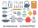 big set of kitchen dishes and... | Shutterstock .eps vector #1234625965