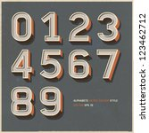alphabet numbers retro colour... | Shutterstock .eps vector #123462712
