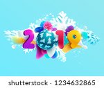 new year 2019.  design greeting ... | Shutterstock .eps vector #1234632865