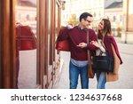 beautiful young couple enjoying ... | Shutterstock . vector #1234637668