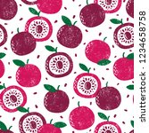 seamless pattern with fruits.... | Shutterstock .eps vector #1234658758