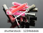 beautiful lip glosses with rose ... | Shutterstock . vector #123466666