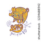 year of the yellow earth pig on ... | Shutterstock .eps vector #1234688542