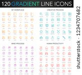 120 trendy gradient style thin... | Shutterstock .eps vector #1234707682
