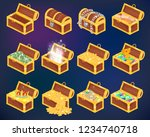 chest vector treasure box with... | Shutterstock .eps vector #1234740718